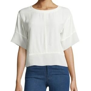 MINKPINK Crepe Blouse with Chiffon trim in white